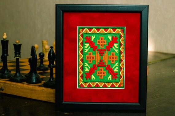 Framed traditional wall decor Ethnic art decor Folk art hand | Etsy