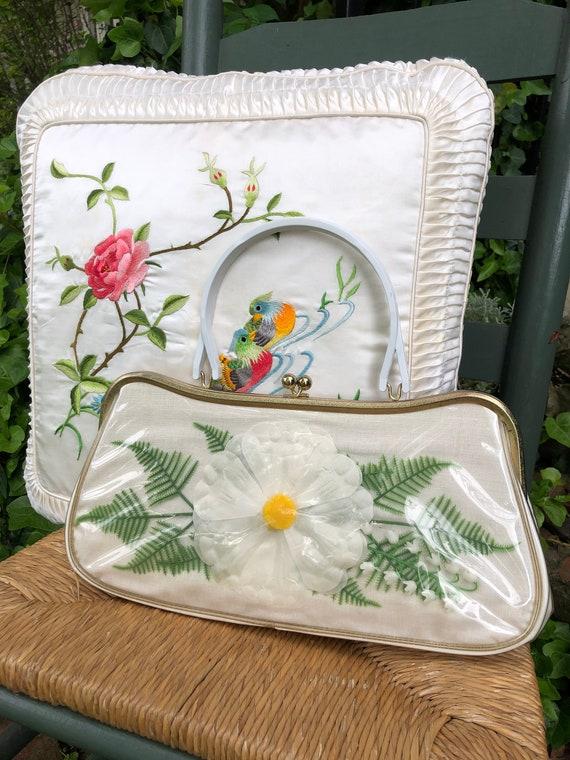 60's Floral Handbag/Plastic Coated Handbags/Vinta… - image 1