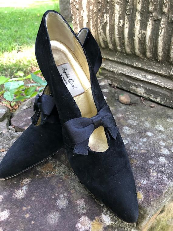 Couture Suede Pumps/Designer Shoes/Black Suede Sho