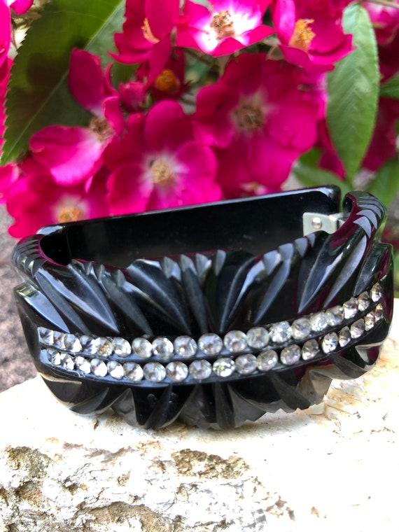 40's Bakelite Black Rhinestones Bracelet/Bakelite
