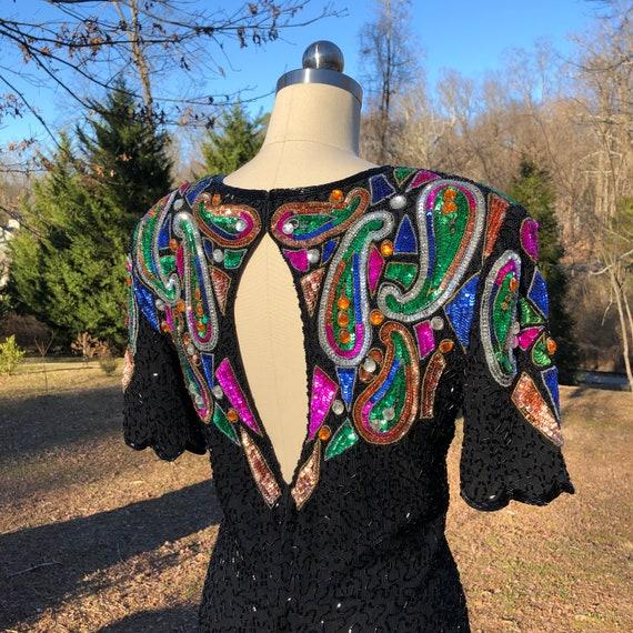 80's BEADED DRESS/80's Dresses/Stenay Dress/80's V