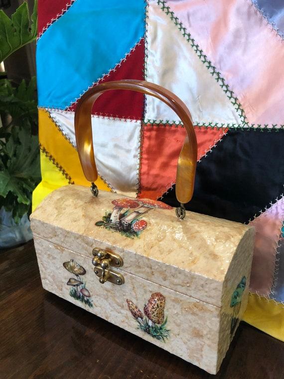 DECOUPAGE MUSHROOM Box Purse/70's Box Purses/Box P
