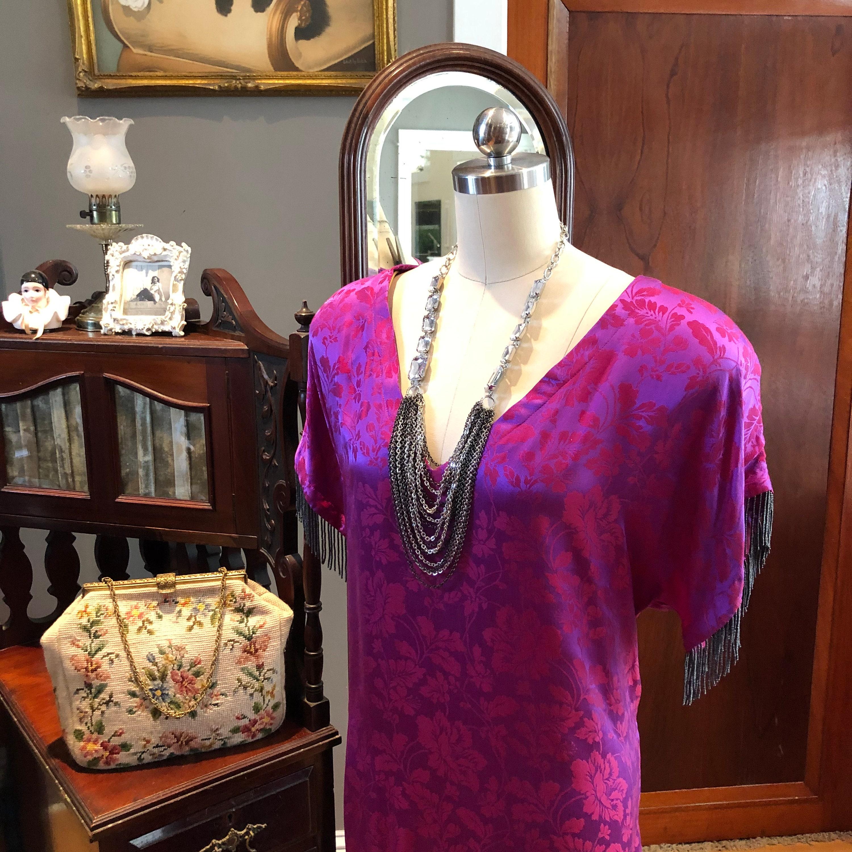 80s Dresses | Casual to Party Dresses 80s Silk Dress With BeadsPlus Size Dresses80s DressesSilk DressesBeaded Vintage DressVintage Silk DressMint Condition $125.00 AT vintagedancer.com