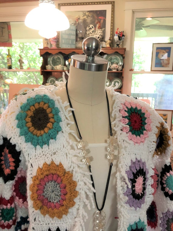 UNIQUE Granny Squares Sweater Jacket/Handmade Swea