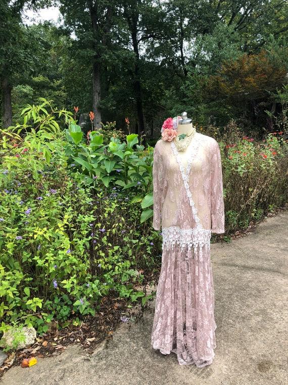JESSICA MCCLINTOCK Pink Lace Dress/Jessica Mcclin… - image 1