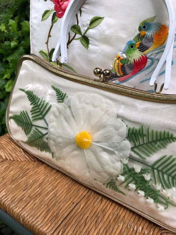 60's Floral Handbag/Plastic Coated Handbags/Vinta… - image 5