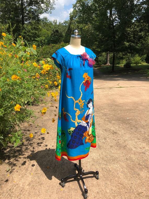 ORIENTAL LADY MUMU/70's Vintage Dresses/70's Mumu/
