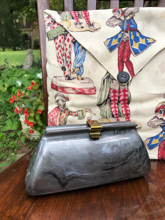 GRAY LUCITE Clutch/Lucite Handbags/Lucite Clutches