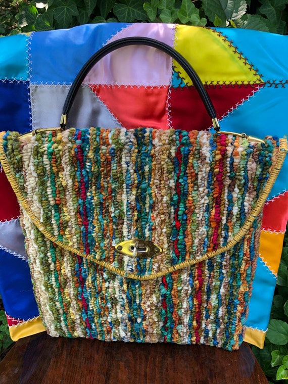Jerry Terrence CARPET BAG Purses/Vintage Carpet B… - image 10