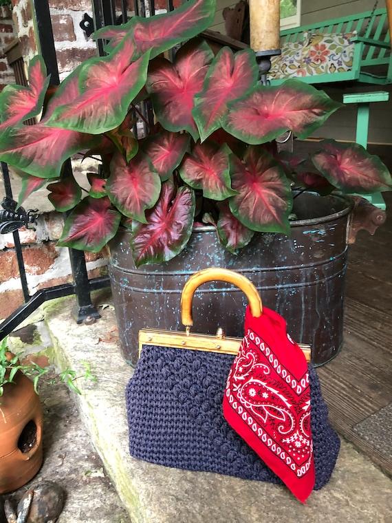 60's Raffia Wood Handle Bag/Vintage Raffia Purses/