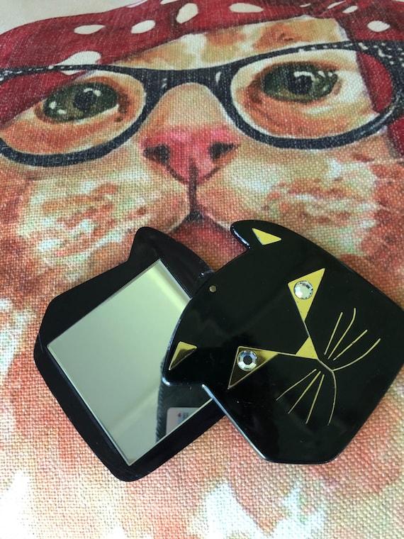 CAT MIRROR/Vintage Mirrors/Kitty Cat Purse Mirror/