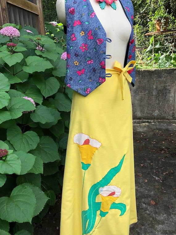 70's The Frog Pond Wrap Skirt/70's Applique Skirt/