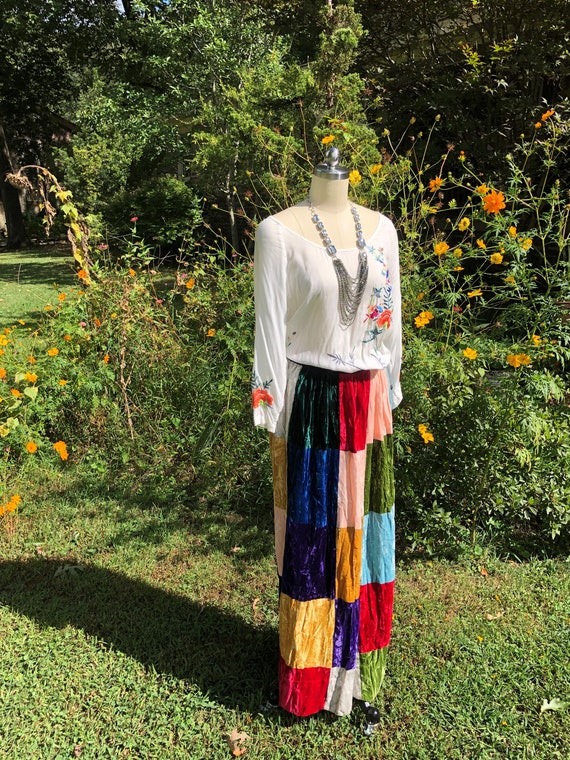 BOHO PATCHWORK Velvet Skirt/Patchwork Velvet Skirt
