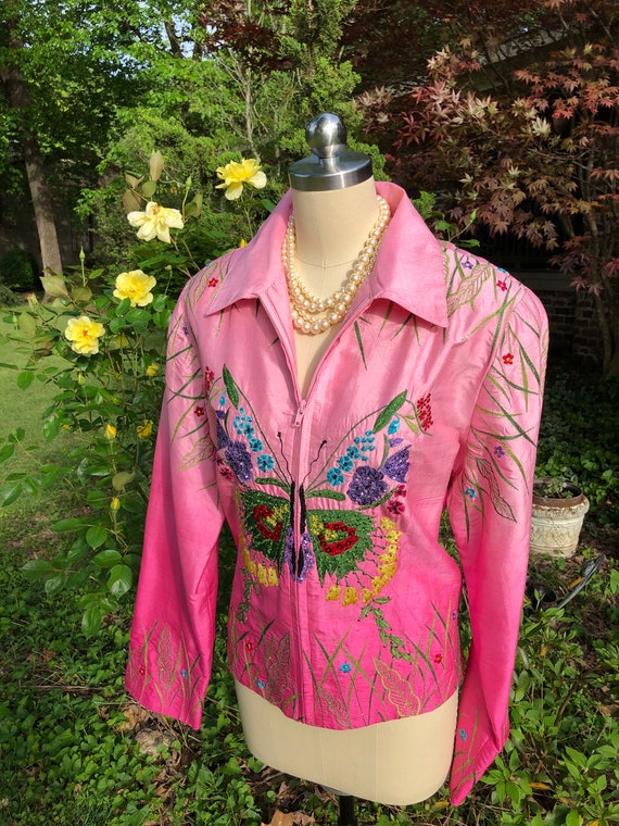 80's Silk Embroidered Jackets/Anage Jackets/Silk J