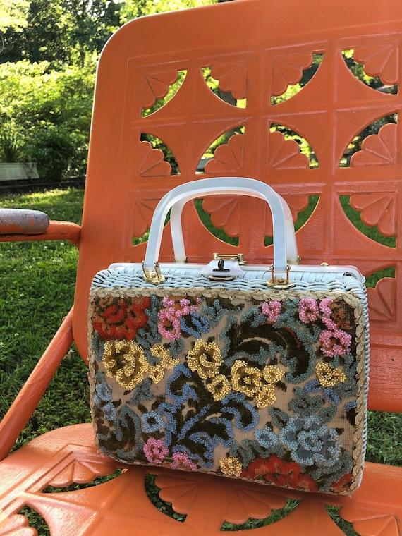 RARE Adele Beaded Wicker Purse/Wicker Handbags/Luc
