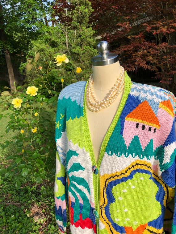 AWESOME 80's Cardigan/80's Vintage Sweaters/Vintag