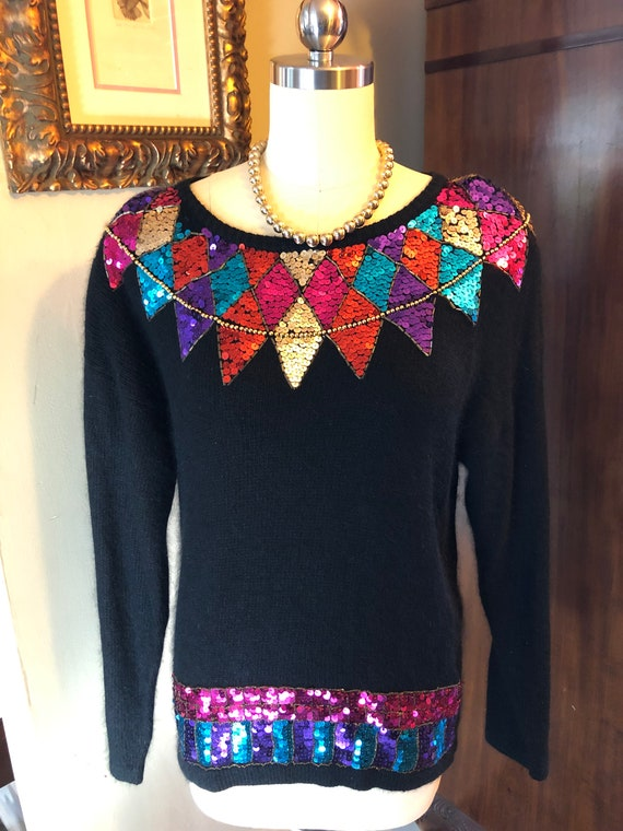 Sequin Sweaters/80's Sequin Sweaters/Vintage Pullo