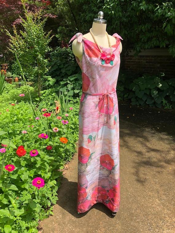 70's Vintage Momentum Dress/70's Floral Dresses/70