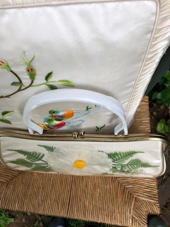 60's Floral Handbag/Plastic Coated Handbags/Vinta… - image 6