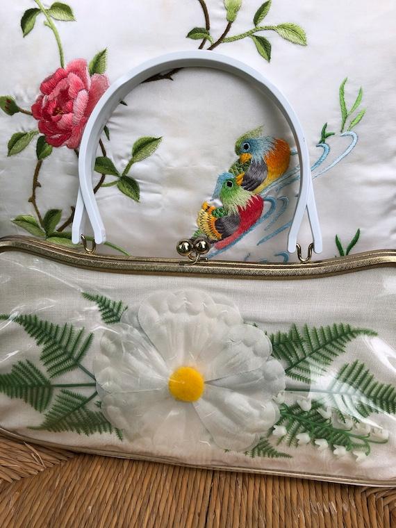 60's Floral Handbag/Plastic Coated Handbags/Vinta… - image 2
