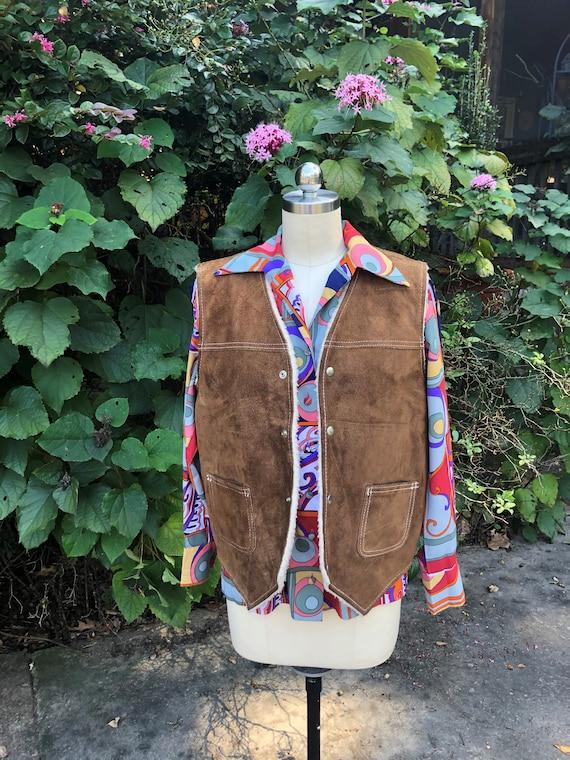 70's COOL Suede VEST/Vintage Brown Suede Sherpa Ve