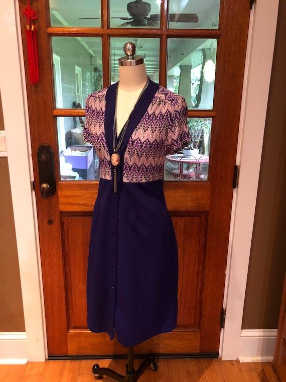 70's PURPLE SHIRTDRESS/70's Dresses/Vintage Dress… - image 2