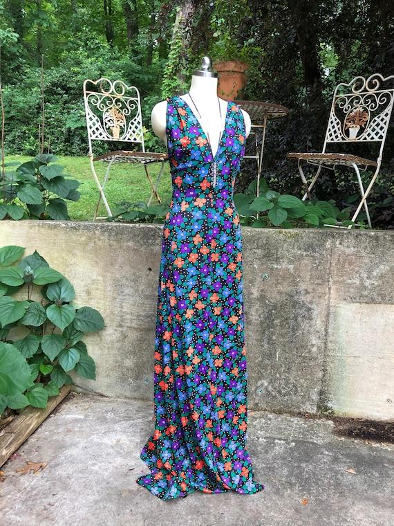 70's Two Piece Floral Dress/Flower Power Dresses/F