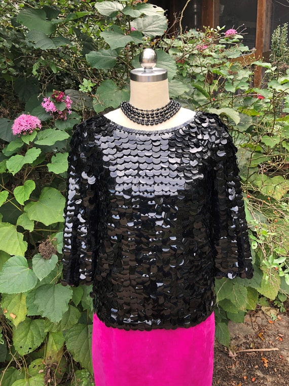 RARE BIG SEQUIN Tops/60's Sequin Tops/Vintage Sequ