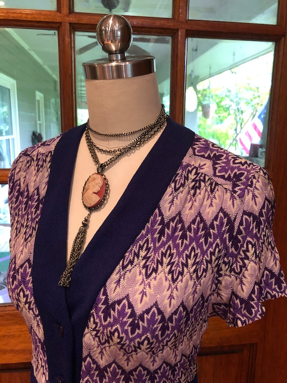 70's PURPLE SHIRTDRESS/70's Dresses/Vintage Dress… - image 1