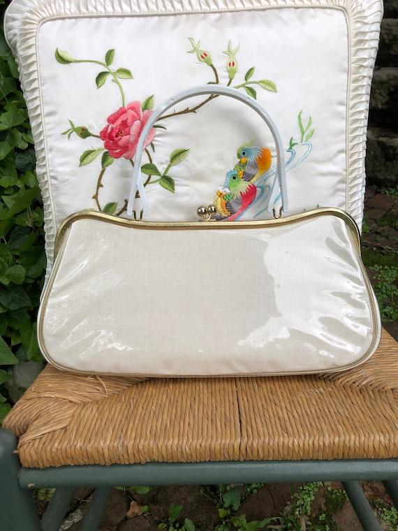 60's Floral Handbag/Plastic Coated Handbags/Vinta… - image 3