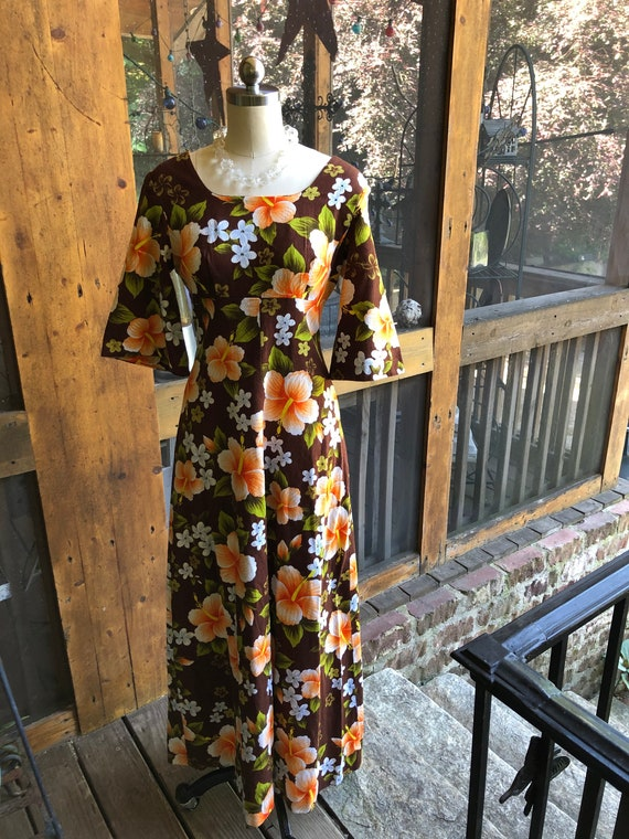 60's Ui-Maikai Long Floral Dress/Ui-Maikai Dresses