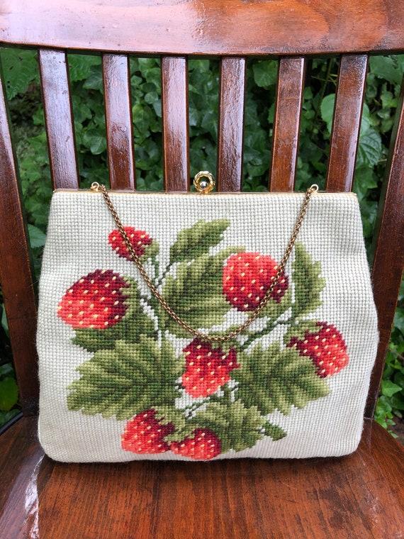 Rare CHRISTINE STRAWBERRY Needlepoint Bag/Strawber