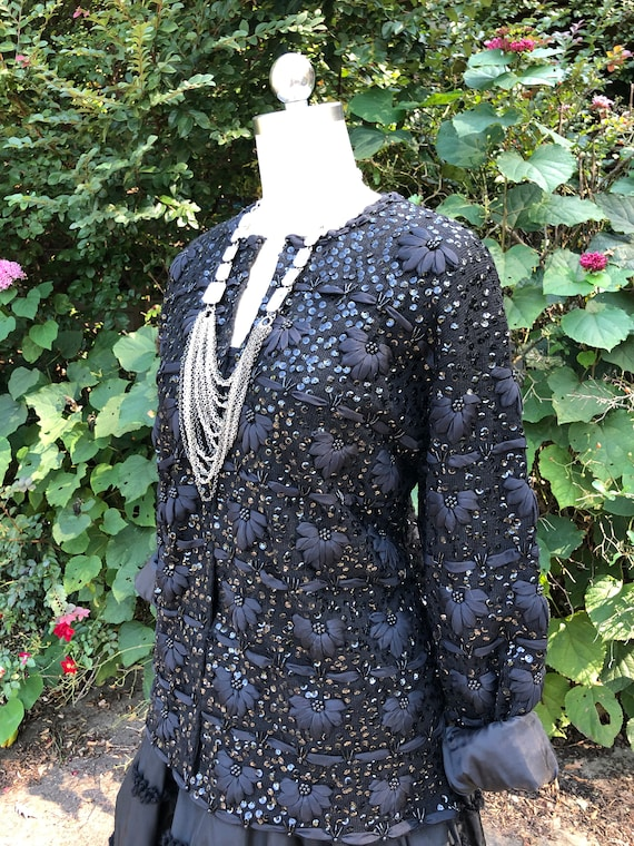 SEQUIN RIBBON Jacket/50's Sequin Jackets/Beaded Sw