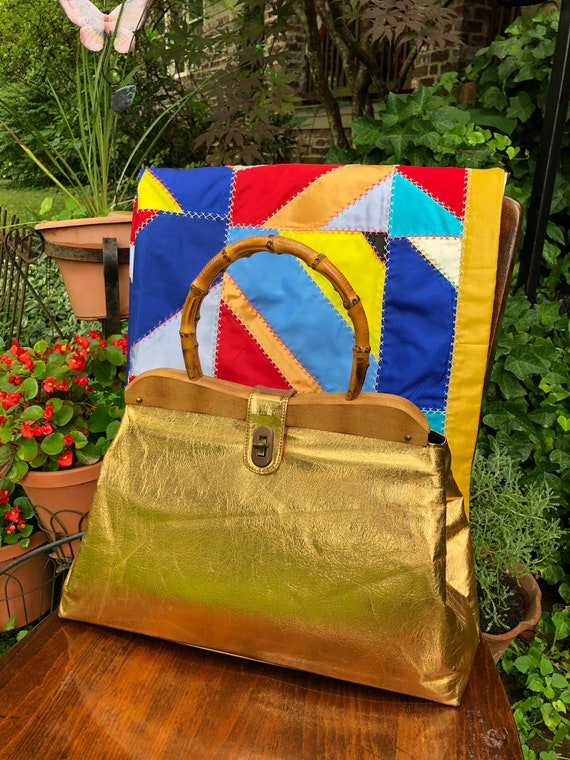 RARE 70's Oversized Gold Lame Handbag/Oversized Go