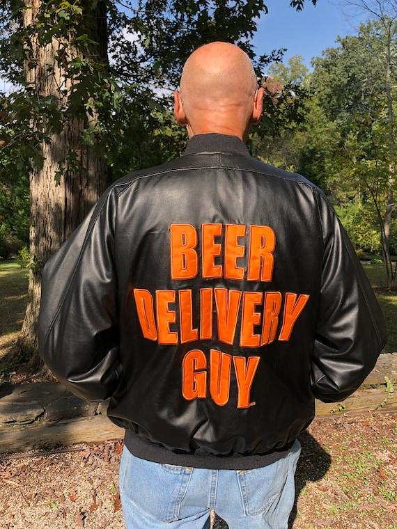 BEER DELIVERY GuyJacket/Faux Leather Jacket/Black