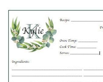 Monogram Personalized Recipe Page