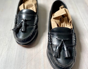 Patent Leather Loafers | Vintage 90s Black Leather Penny Loafer Minimal Comfy Leather Slip Ons Simple Flat Shoes Women Size 38 Made in Italy