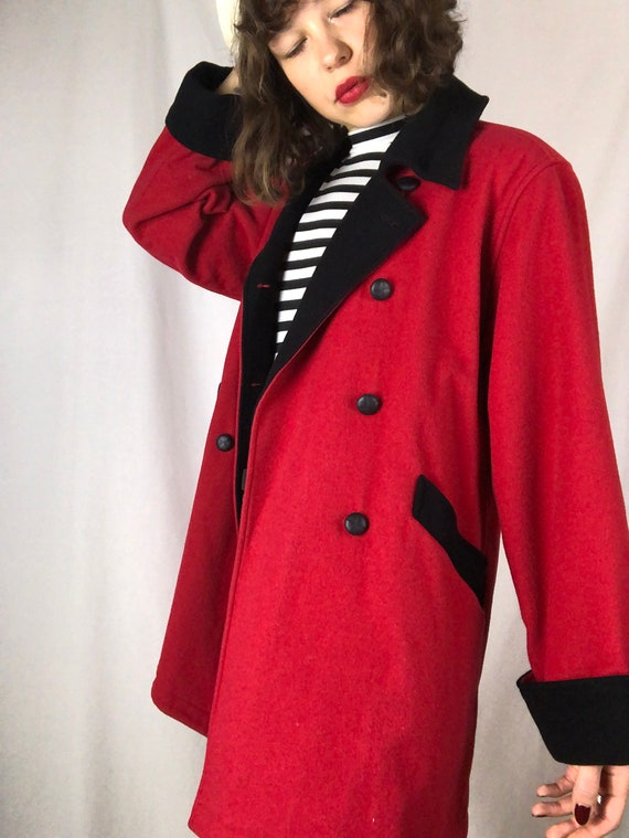 Vintage Nineties Red & Black Chic Wool Overcoat |