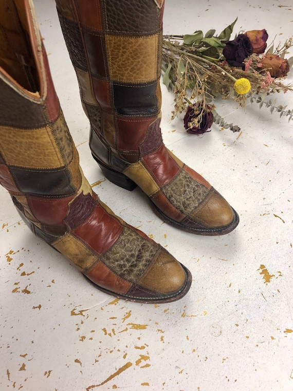 Leather Patchwork Boots | Vintage 70s Patchwork We