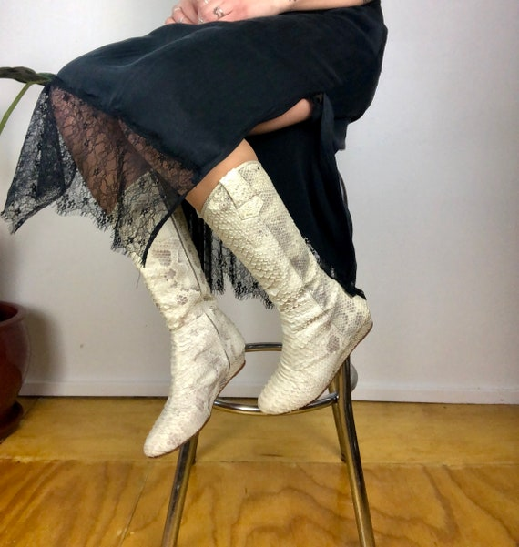 White Snakeskin Boots Vintage 80s Textured Snakesk