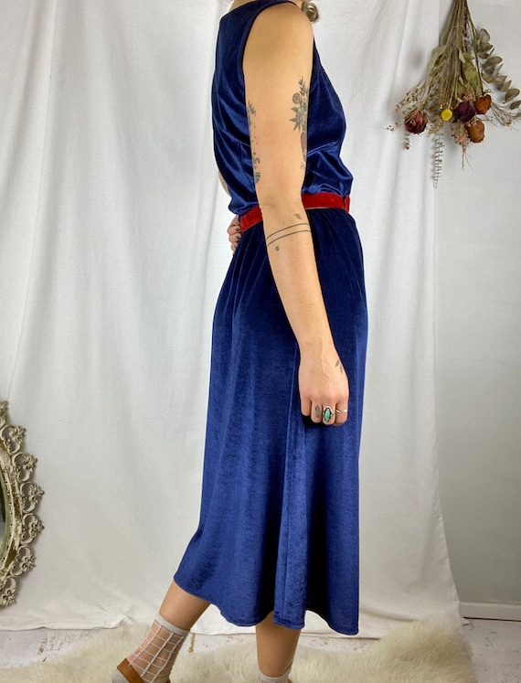 70s Navy Terry Cloth Textured Dress | Vintage 197… - image 4