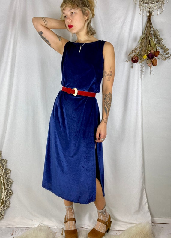 70s Navy Terry Cloth Textured Dress | Vintage 197… - image 6