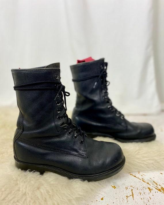 Black Leather Combat Boots | Vintage 90s Matte Bla