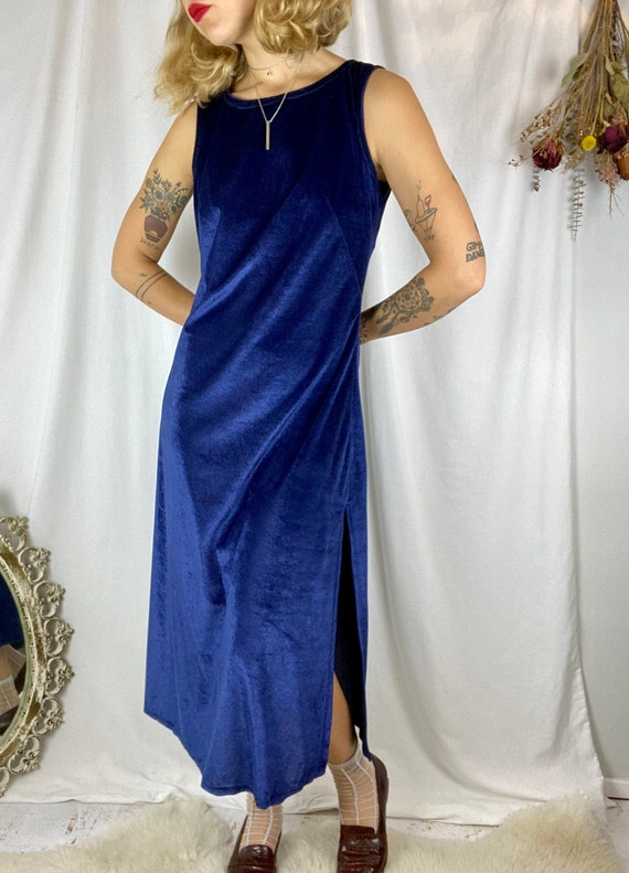 70s Navy Terry Cloth Textured Dress | Vintage 197… - image 7