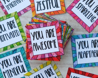 Inspirational Encouragement Cards for Positive Thinking, Compliments and Self Esteem - Instant Download