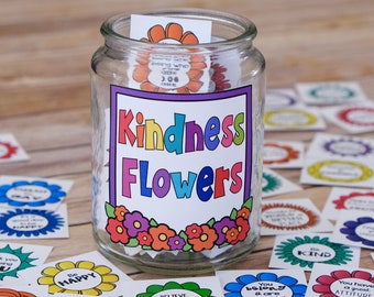 Kindness Flowers Inspirational Messages, Lunch Box Notes, and Kindness Cards - DIY Printable and Kindness Craft Activity