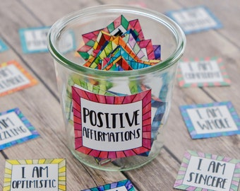 Affirmation Cards for Positive Thinking and Self Care - Coping and Calming Cards - Instant Download