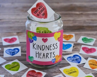 Kindness Hearts Affirmation Cards and Stickers - PDF and PNG Files Included - Print and Cut on a Cricut