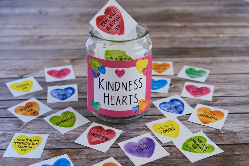 Kindness Hearts Affirmation Stickers  PDF and PNG Files image 0