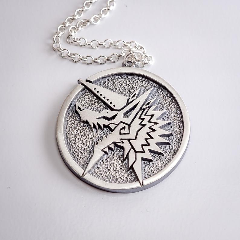 Zinogre silver PENDANT - Monster Hunter World MHW - jewelry jewellery  necklace charm art birthday gift